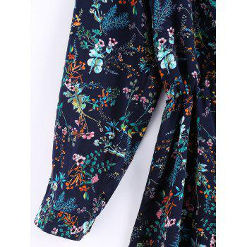 Vintage Women's Long Sleeves Drawstring Waist Floral Shirt Dress - DEEP BLUE ONE SIZE(FIT SIZE XS TO M)