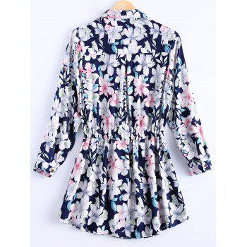 Vintage Women's Loose-Fitting Floral Printed Shirt Dress - DEEP BLUE ONE SIZE(FIT SIZE XS TO M)