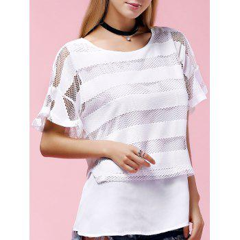 Stylish Women's Plus Size Scoop Neck Ruffle Sleeve Mesh Blouse