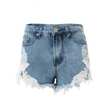 Stylish High-Waisted Lace Spliced Hollow Out Women's Denim Shorts - BLUE XS