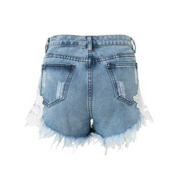 Stylish High-Waisted Lace Spliced Hollow Out Women's Denim Shorts - L L