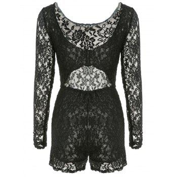 Alluring Open Back U-Neck Long Sleeve Lace Bodysuit For Women - BLACK M