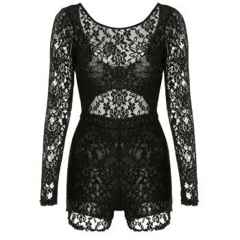 Alluring Open Back U-Neck Long Sleeve Lace Bodysuit For Women