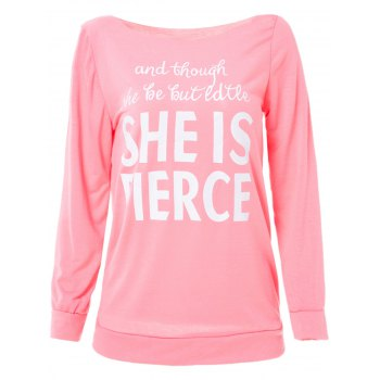 Trendy Long Sleeve Letter Pattern T-Shirt