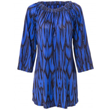 Slash Neck Long Sleeve Print Dress For Women