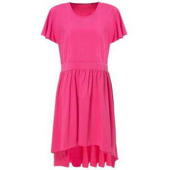 Stylish Solid Color Scoop Neck Pleated Asymmetric Plus Size Dress For Women
