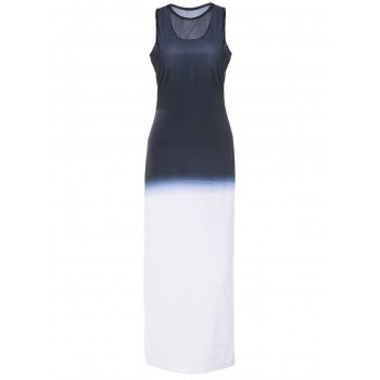 Trendy Gauze Spliced Sleeveless Bodycon Maxi Dress For Women
