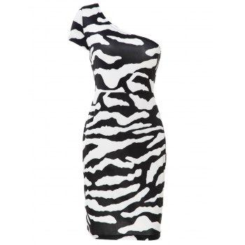 Chic One-Shoulder Short Sleeve Bodycon Zebra-Stripe Women's Dress