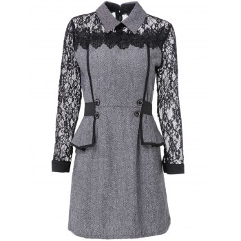 Chic Flat Collar Long Sleeve Flounced Lace Design Women's Dress