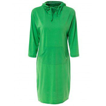 Chic Solid Color Hooded 3/4 Sleeve Bodycon Hoodie Dress For Women