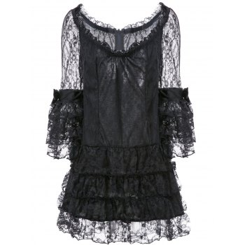 Stylish Women's Sweetheart Neck 3/4 Sleeve Layered Lace Dress