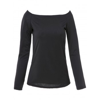 Trendy Solid Color Off-The-Shoulder Bodycon T-Shirt For Women