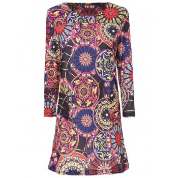 Stylish Scoop Neck 3/4 Sleeve Printed Slimming Women's Dress
