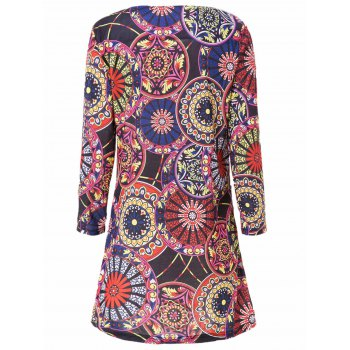 Stylish Scoop Neck 3/4 Sleeve Printed Slimming Women's Dress - COLORMIX M