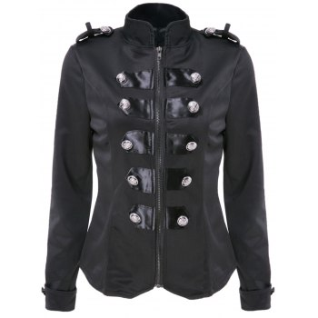 Stylish Women's Stand Collar Long Sleeve Double-Breasted Slimming Jacket