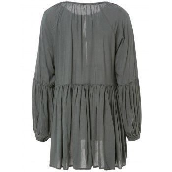 Stylish Long Sleeve Pleated Solid Color Mini Dress - BLACKISH GREEN S