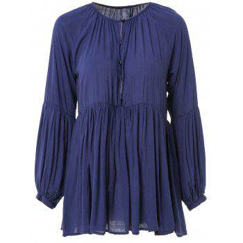 Stylish Long Sleeve Plunging Neck Pleated Solid Color Women's Mini Dress