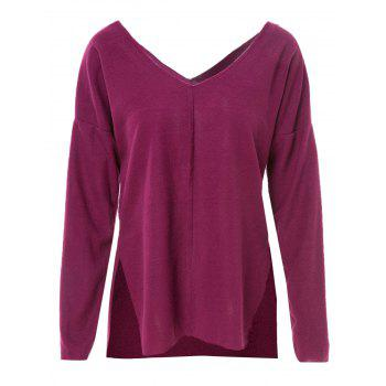 Stylish V-Neck Long Sleeve Furcal Solid Color Women's T-Shirt