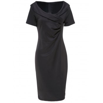 Elegant Black V-Neck Short Sleeve Dress For Women