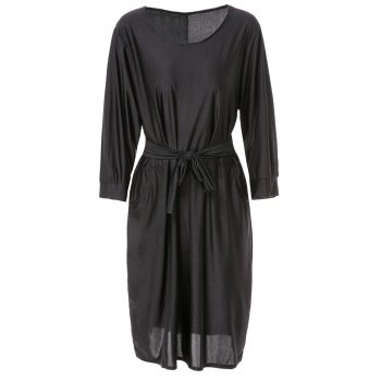 Trendy Scoop Neck 3/4 Sleeve Solid Color Belted Plus Size Dress For Women