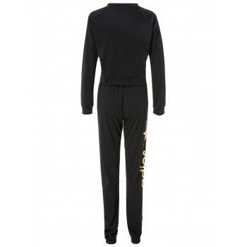 Attractive Letter and Leaf Print Cropped Sweatshirt and Jogger Pants Twinset For Women - L L