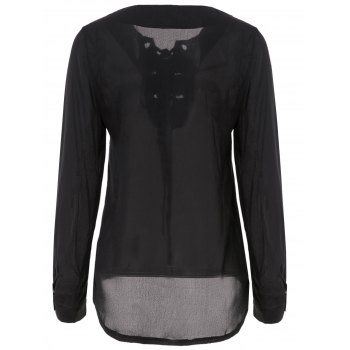 Brief Black V-Neck Self-Tie Long Sleeve Blouse For Women - BLACK M