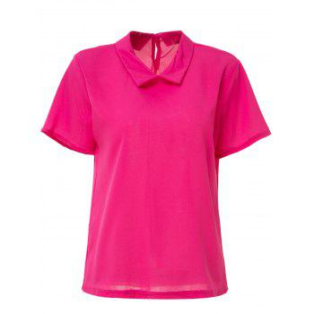 Short Sleeve Candy Color Blouse For Women - RED RED