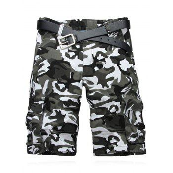Military Style Straight Leg Multi-Pocket Camo Zipper Fly Men's Cargo Shorts - WHITE WHITE