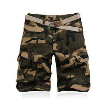 Military Style Straight Leg Multi-Pocket Camo Zipper Fly Men's Cargo Shorts