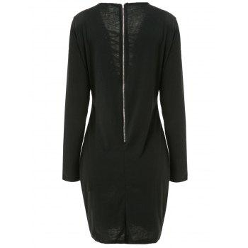 Sexy Long Sleeve Plunging Neck Black Hollow Out Lace-Up Women's Dress - BLACK BLACK