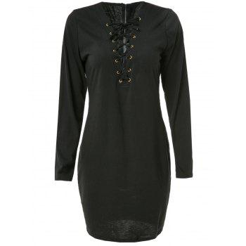 Sexy Long Sleeve Plunging Neck Black Hollow Out Lace-Up Women's Dress - BLACK 2XL