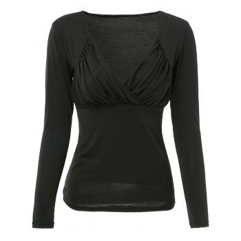Sexy Low-Cut Ruched Sweetheart Neck Solid Color T-Shirt For Women