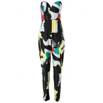 Fashionable Multicolored Printed Strapless High Waist Plus Size Jumpsuit For Women