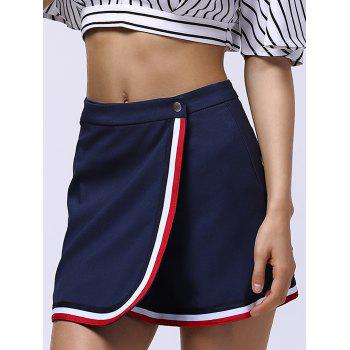 Striped Panel Overlap Skirt