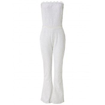 Sexy Women's Strapless Lace Wide Leg Jumpsuit