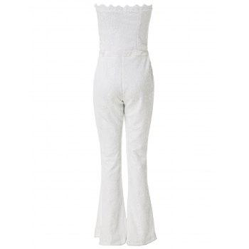 Sexy Women's Strapless Lace Wide Leg Jumpsuit - WHITE XL