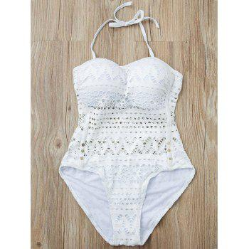 Stylish Women's Halter Hollow Out Mesh Spliced One-Piece Swimsuit