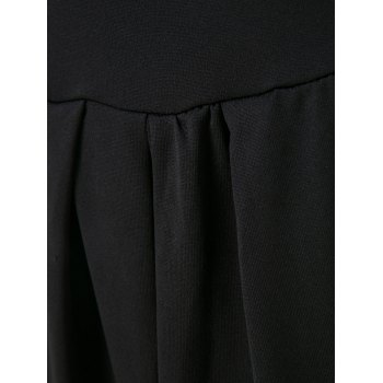 OL Style 3/4 Sleeve V-Neck Ruched Pure Color Women's Dress - BLACK L