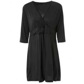 OL Style 3/4 Sleeve V-Neck Ruched Pure Color Women's Dress