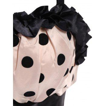 Stylish Spaghetti Strap Polka Dot Bowknot Embellished Lace-Up Women's Corset - L L