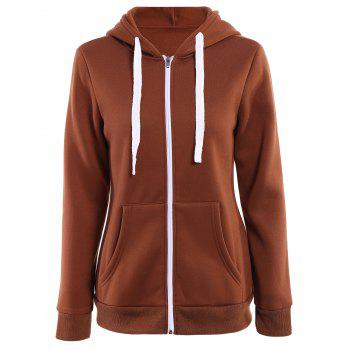 Stylish Hooded Long Sleeve Solid Color Zip Up Women's Hoodie