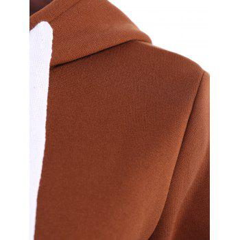 Stylish Hooded Long Sleeve Solid Color Zip Up Women's Hoodie - BROWN L