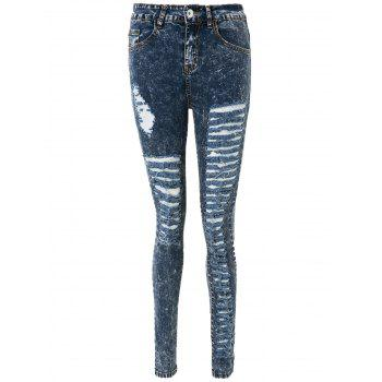 Stylish High-Waisted Skinny Frayed Ripped Women's Jeans - DEEP BLUE S