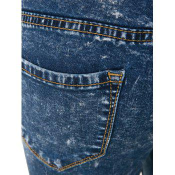Stylish High-Waisted Skinny Frayed Ripped Women's Jeans - DEEP BLUE 2XL