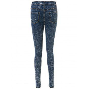 Stylish High-Waisted Skinny Frayed Ripped Women's Jeans - DEEP BLUE DEEP BLUE