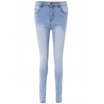 Simple High-Waisted Blench Wash Skinny Women's Jeans - LIGHT BLUE M