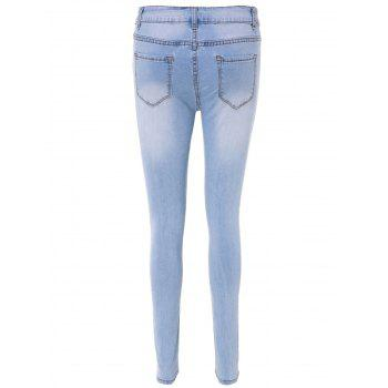 Simple High-Waisted Blench Wash Skinny Women's Jeans - LIGHT BLUE 3XL