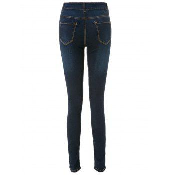 Casual High-Waisted Spliced ​​Skinny Women's Jeans - Bleu Foncé M