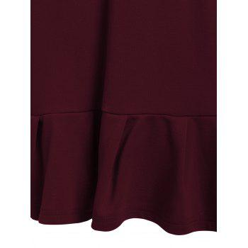 Women's Graceful Fishtail Letter Pattern Dress - WINE RED M