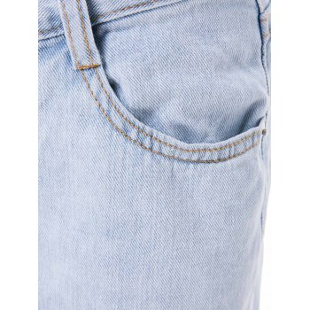 Stylish High-Waisted Ripped Slimming Frayed Women's Ninth Jeans - Bleu Léger M